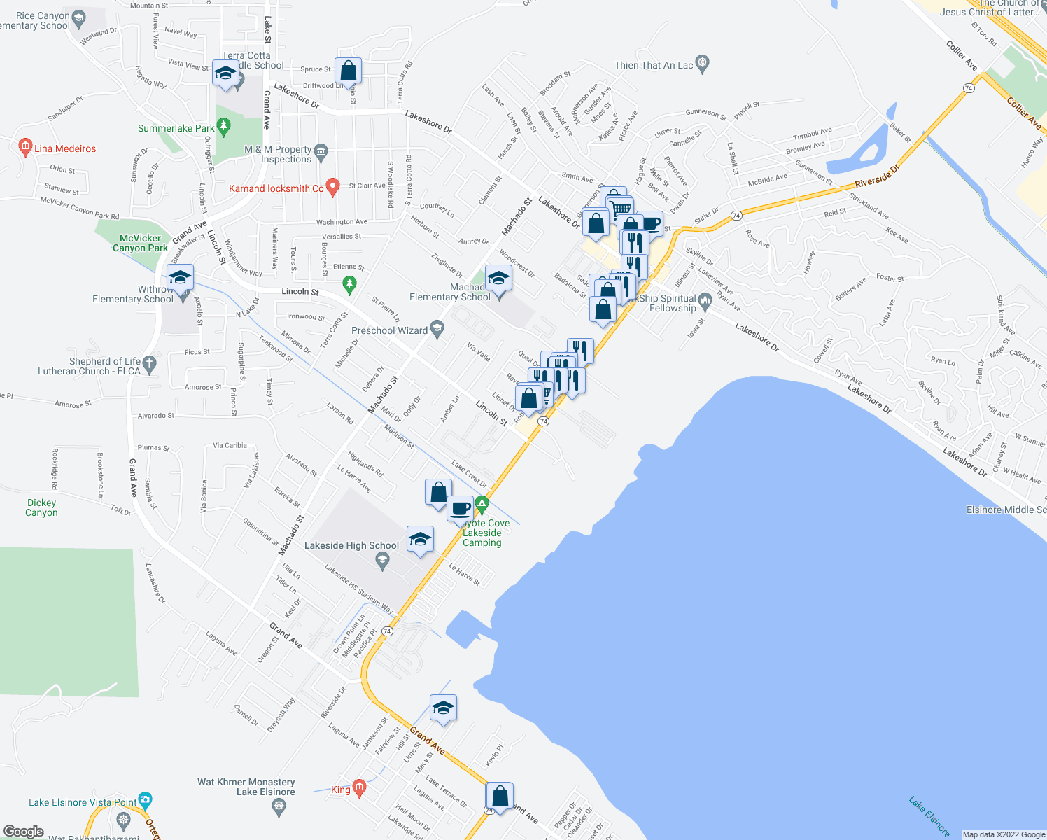 map of restaurants, bars, coffee shops, grocery stores, and more near 3639-3699 Linnet Drive in Lake Elsinore