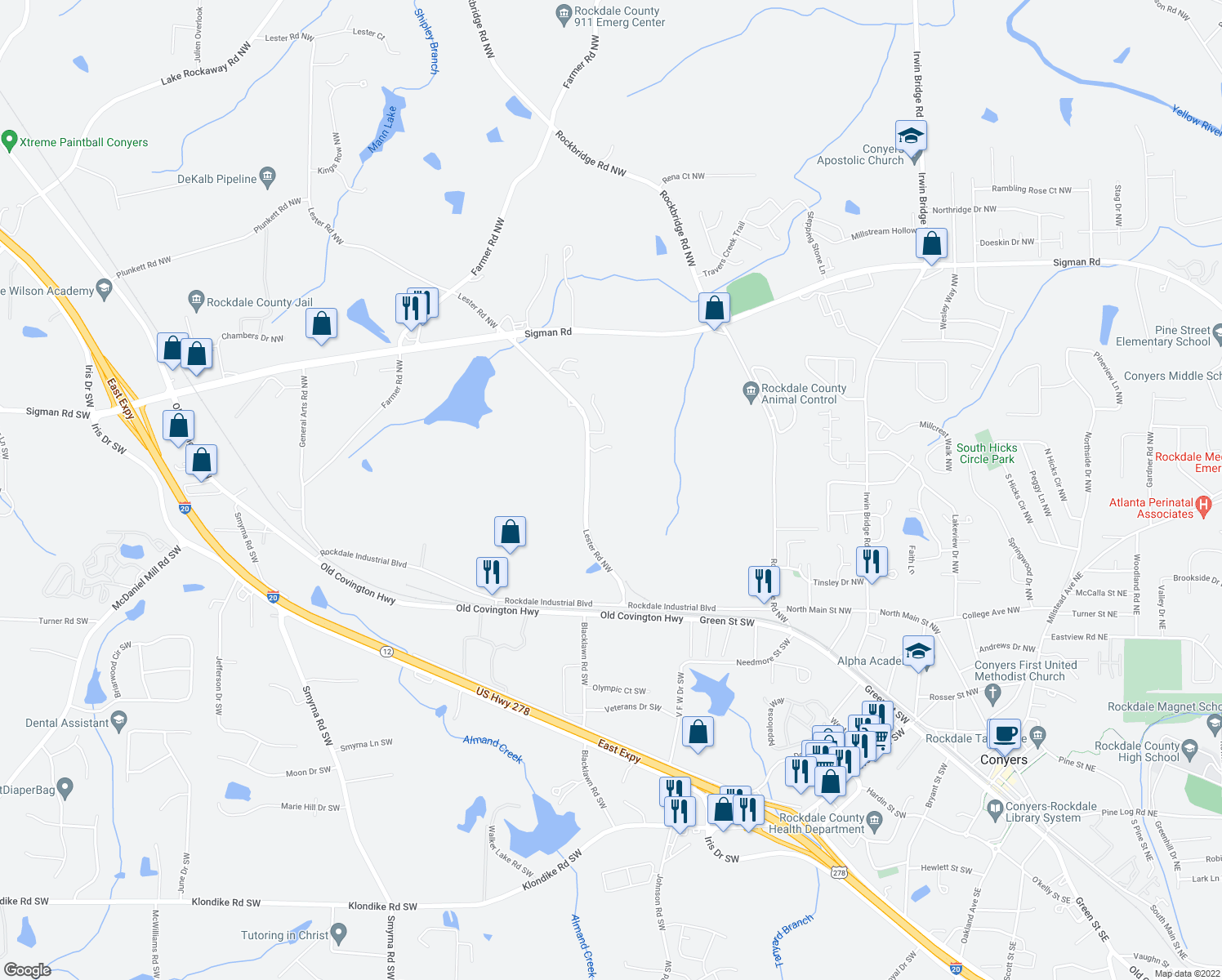 map of restaurants, bars, coffee shops, grocery stores, and more near 1345 Lester Road Northwest in Conyers