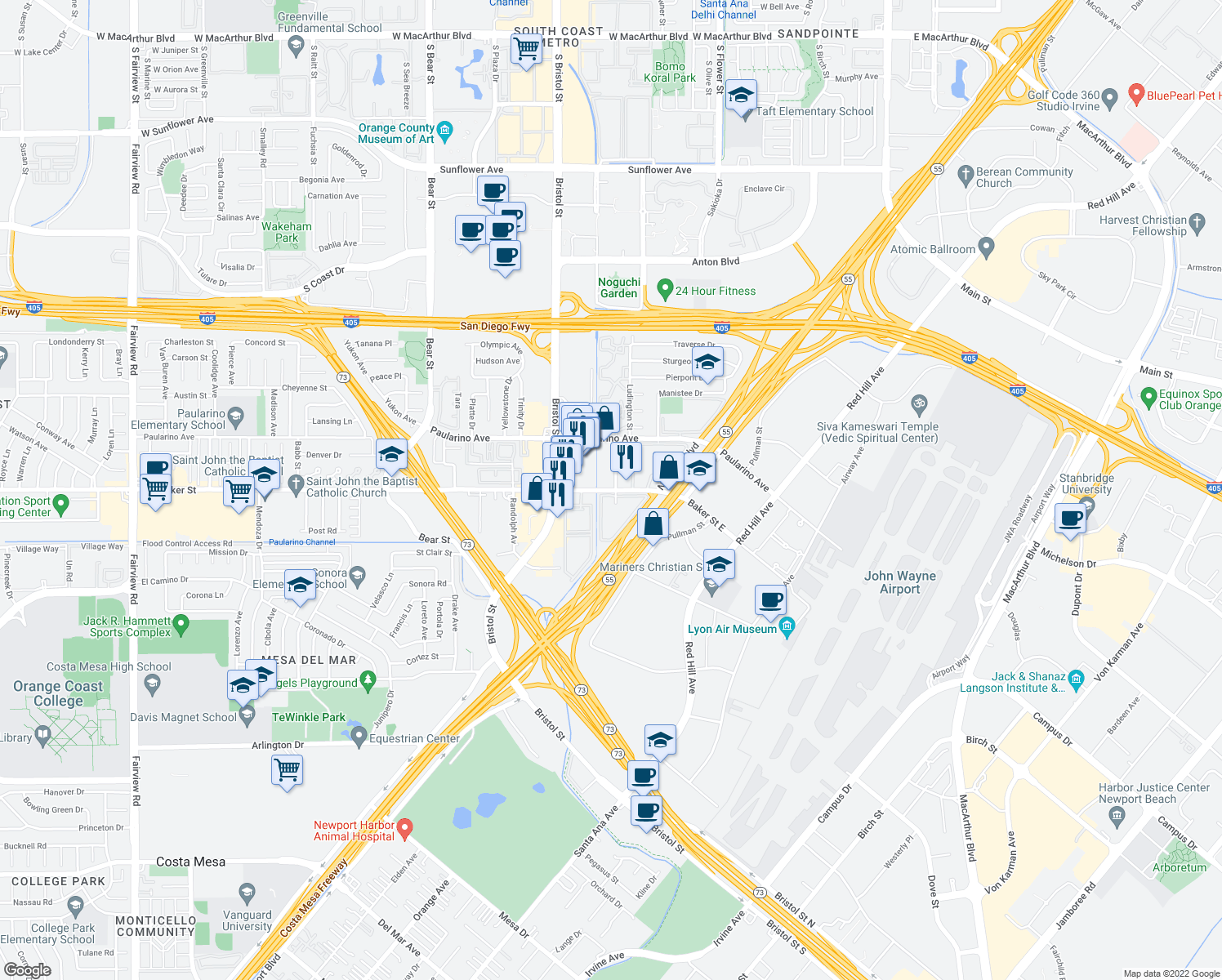 map of restaurants, bars, coffee shops, grocery stores, and more near 635 Baker Street in Costa Mesa
