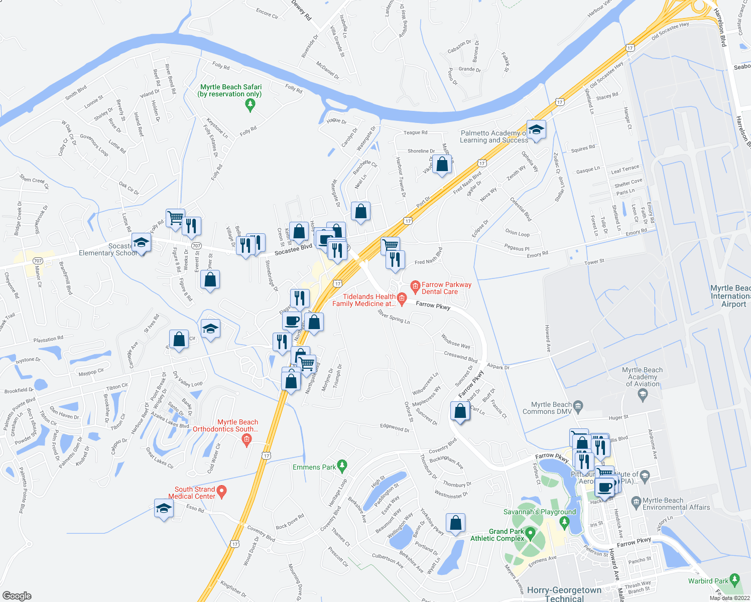 map of restaurants, bars, coffee shops, grocery stores, and more near Crow Ln in Myrtle Beach