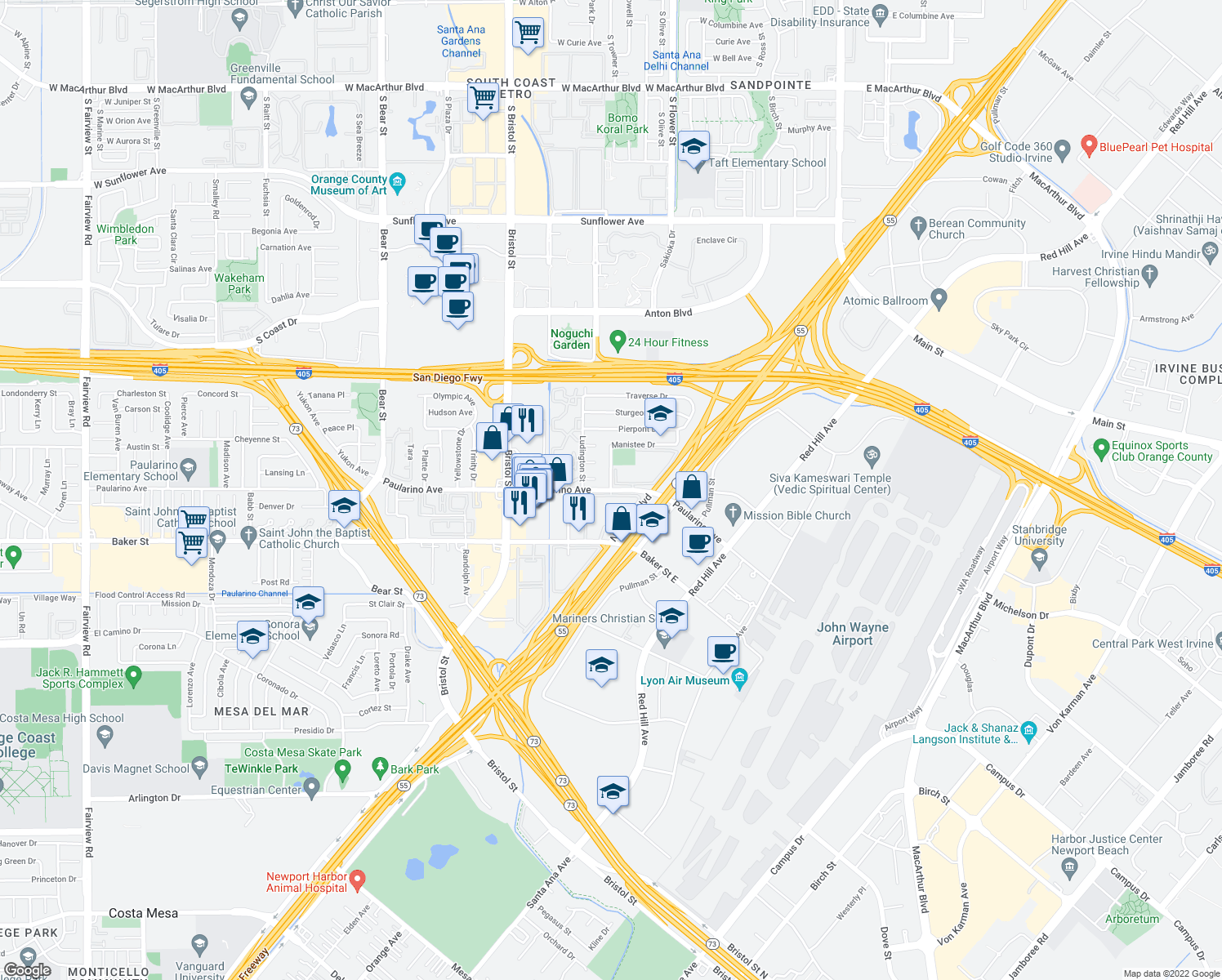 map of restaurants, bars, coffee shops, grocery stores, and more near 3101 Manistee Drive in Costa Mesa