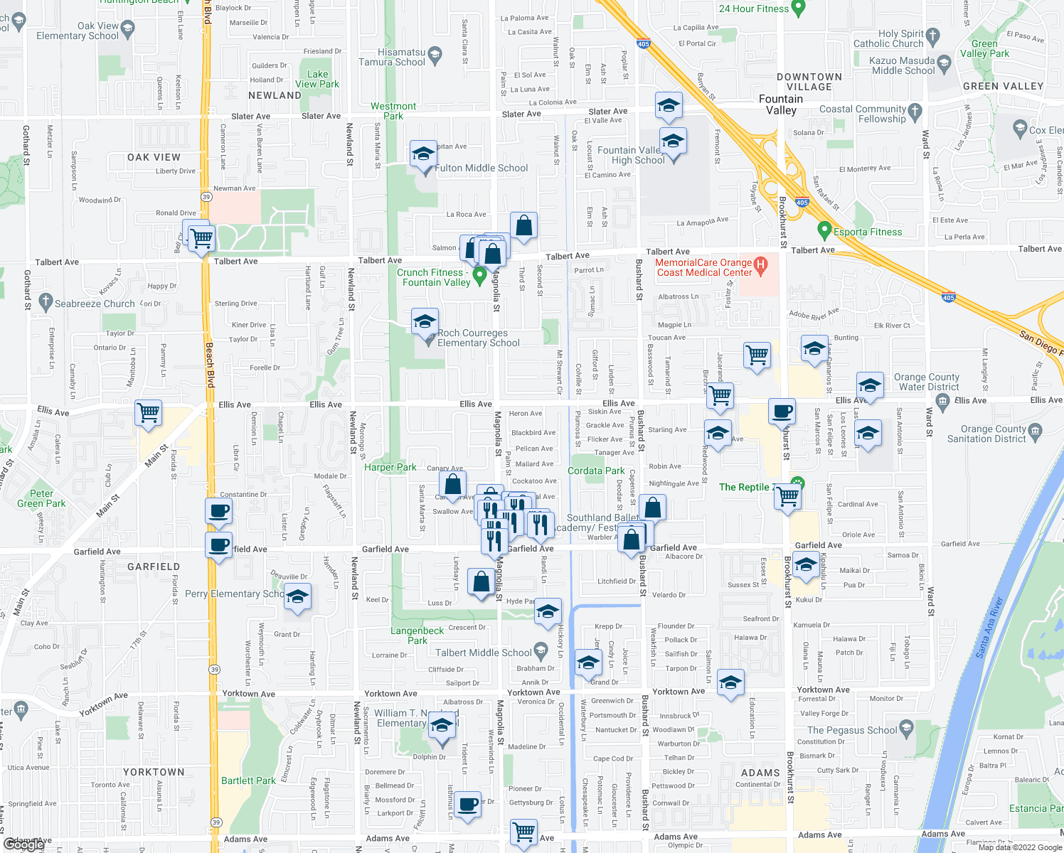 map of restaurants, bars, coffee shops, grocery stores, and more near 9123 Blackbird Avenue in Fountain Valley