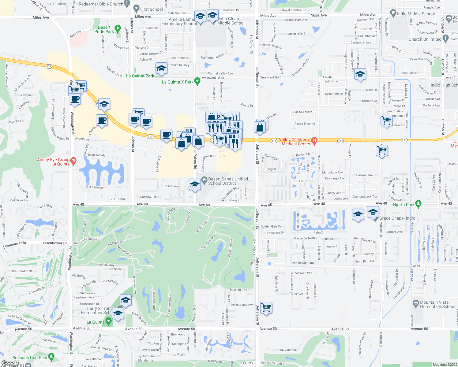 map of restaurants, bars, coffee shops, grocery stores, and more near 79770 Desert Willow St in La Quinta