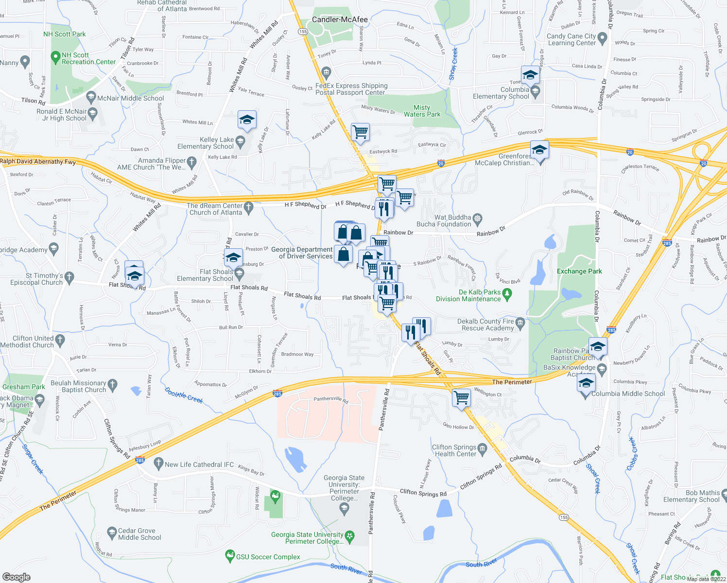 map of restaurants, bars, coffee shops, grocery stores, and more near 3477-3485 Flat Shoals Road in Decatur