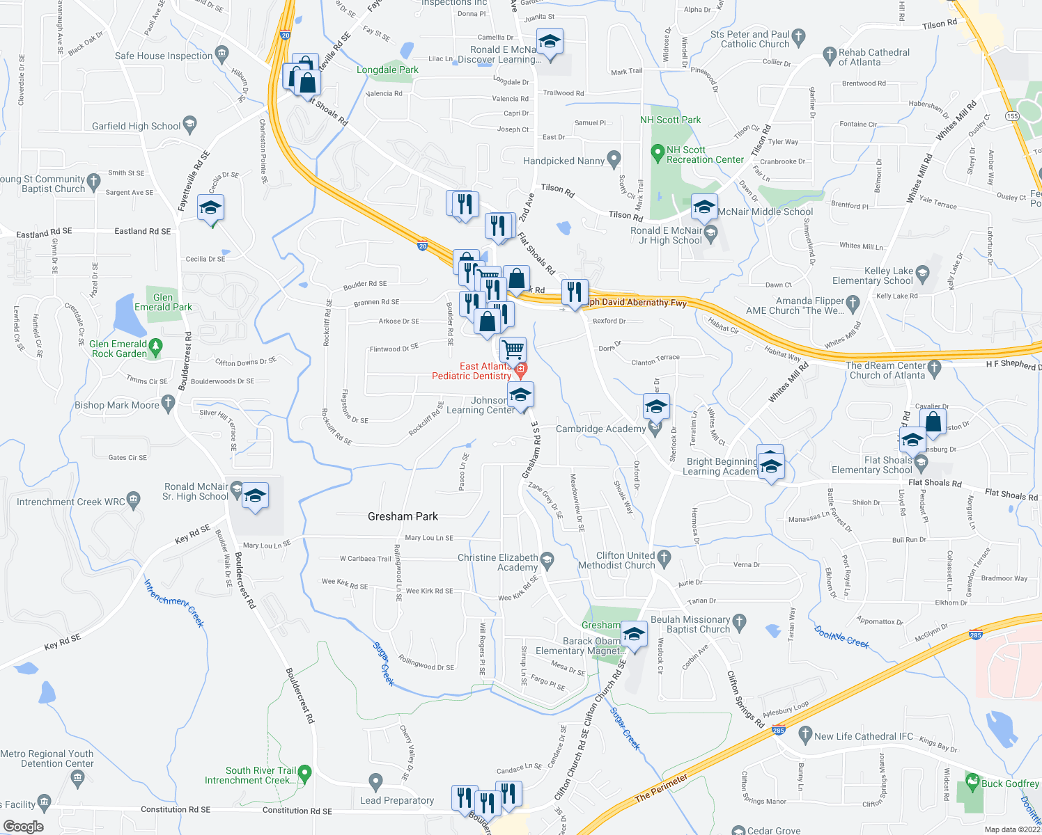 map of restaurants, bars, coffee shops, grocery stores, and more near 2693 Gresham Road Southeast in Atlanta