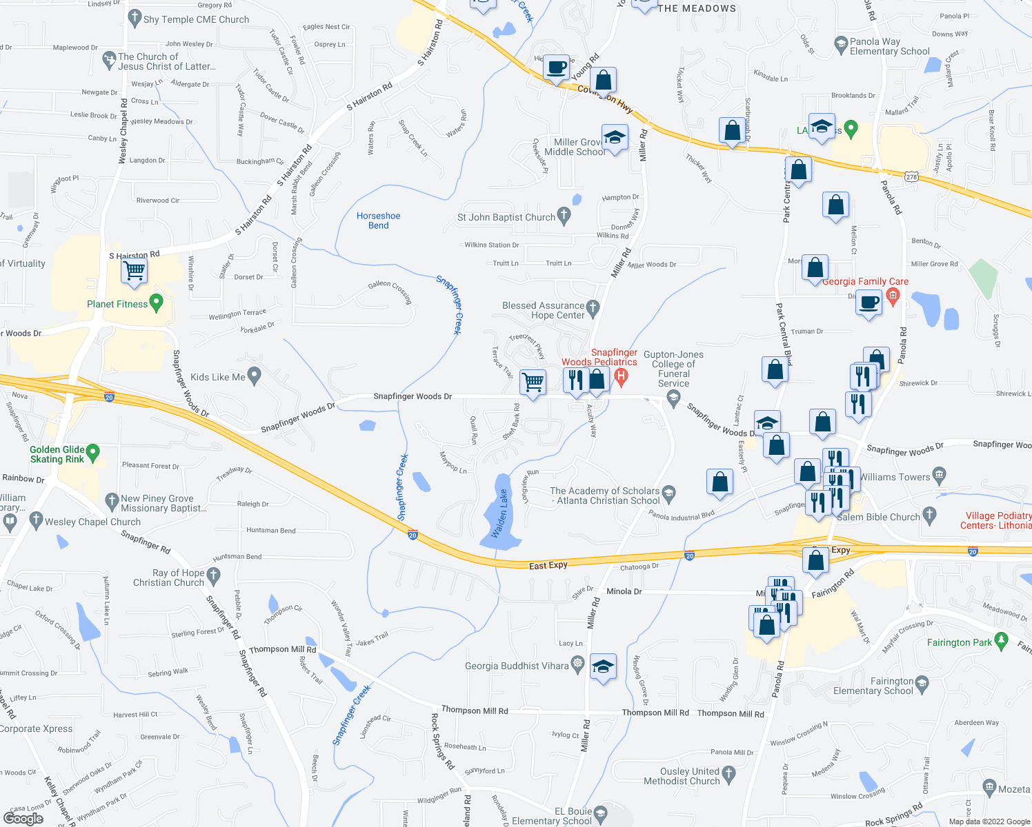 map of restaurants, bars, coffee shops, grocery stores, and more near 2 Shellbark Road in Decatur