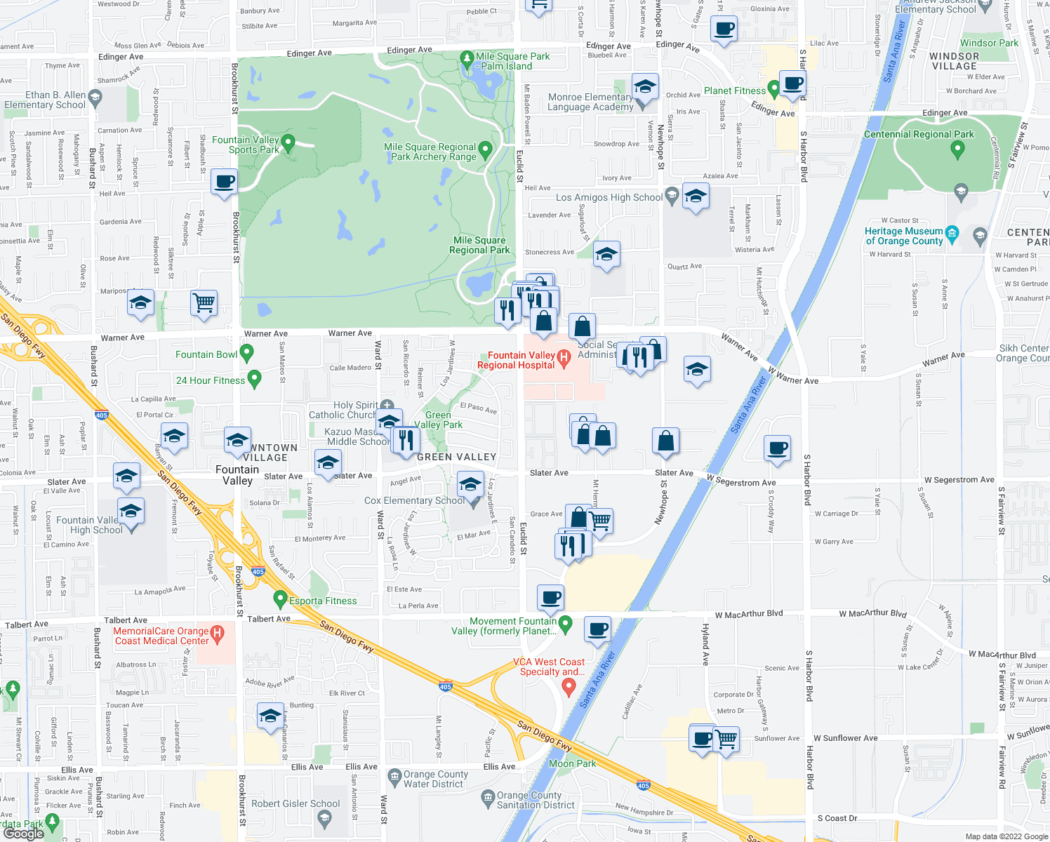 map of restaurants, bars, coffee shops, grocery stores, and more near 17251 Euclid Street in Fountain Valley