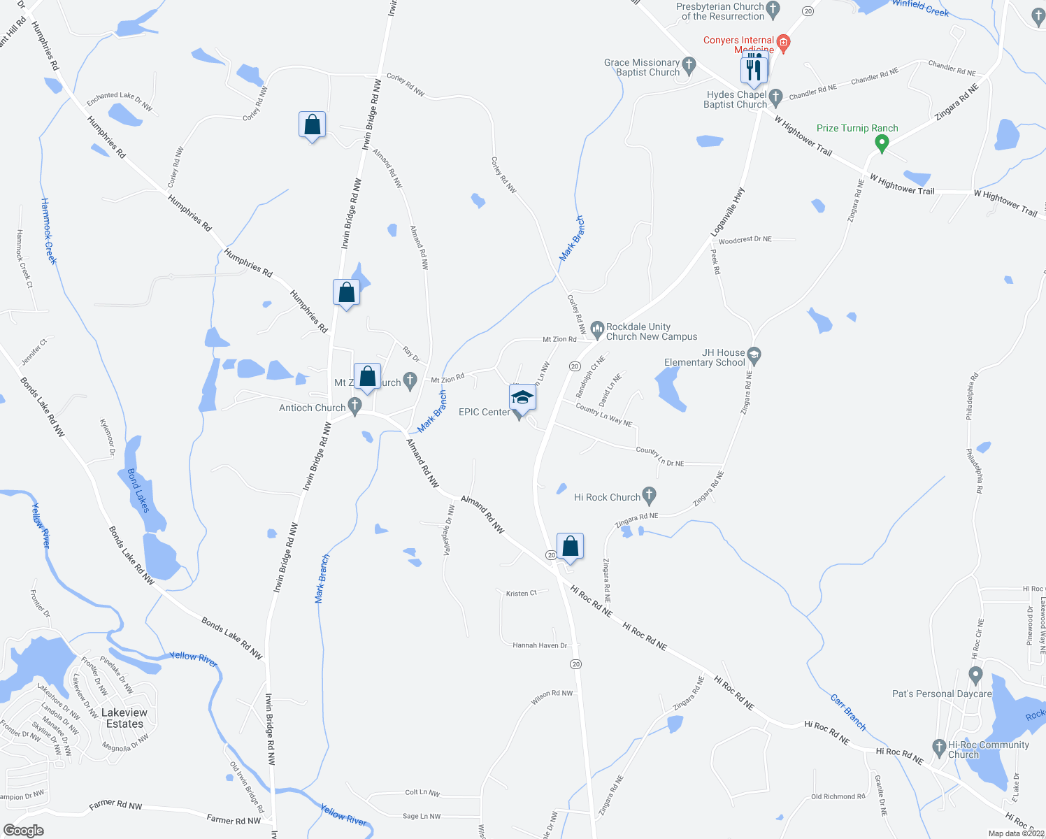 map of restaurants, bars, coffee shops, grocery stores, and more near 2930 Georgia 20 Northeast in Conyers