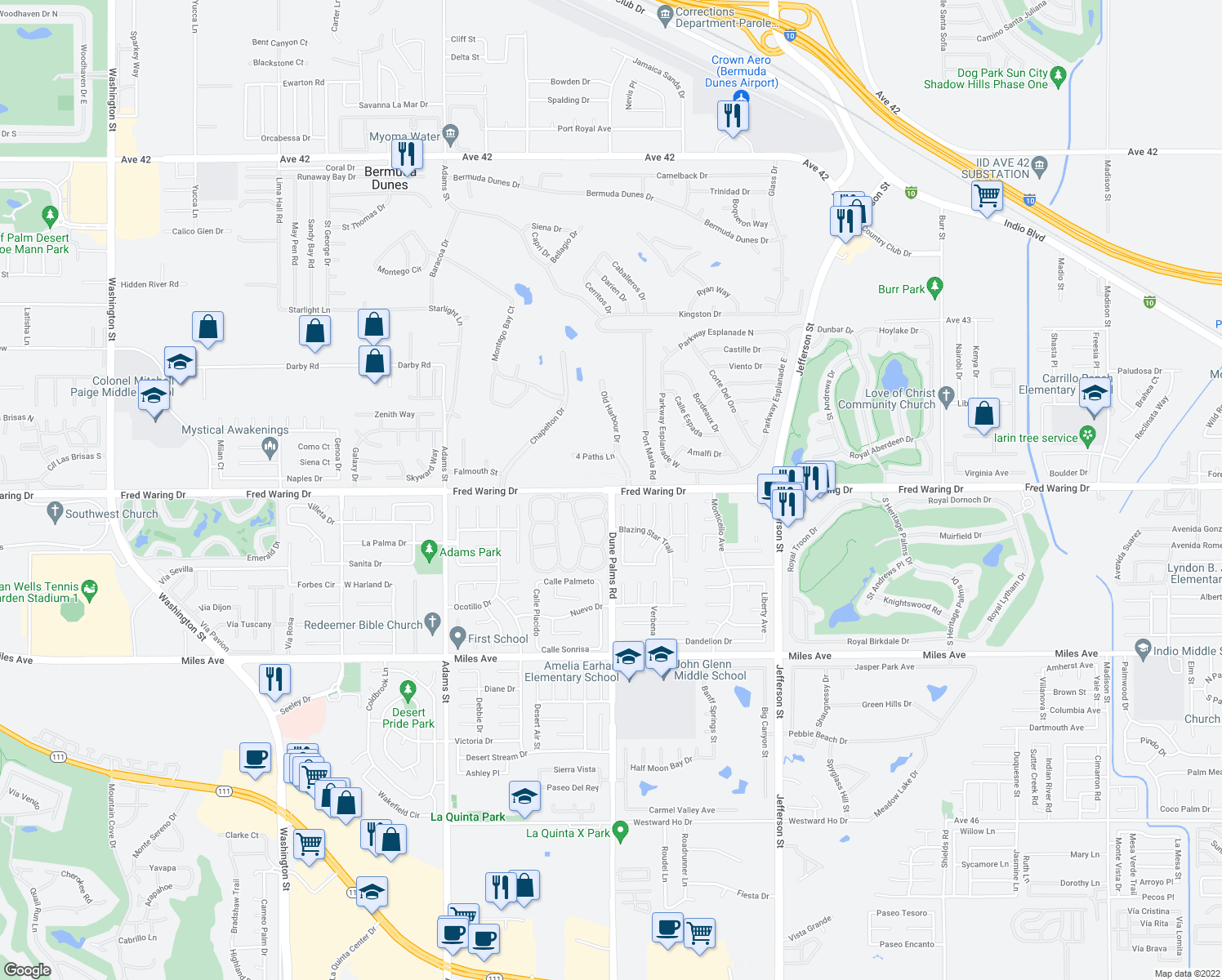 map of restaurants, bars, coffee shops, grocery stores, and more near Dune Palms Rd in La Quinta