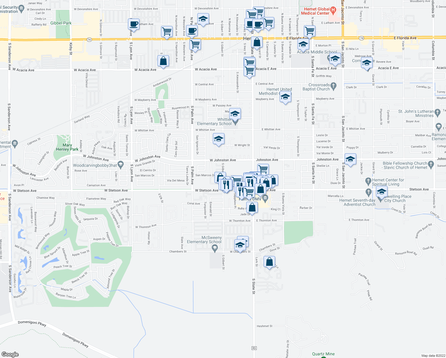 map of restaurants, bars, coffee shops, grocery stores, and more near 1031-1043 South Gilbert Street in Hemet