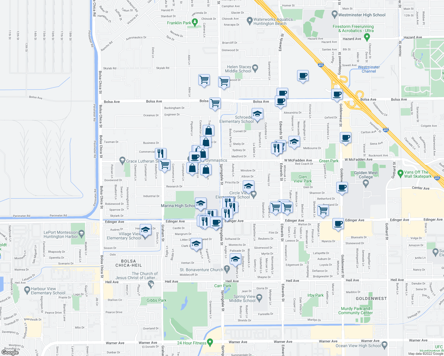 map of restaurants, bars, coffee shops, grocery stores, and more near Springdale Street in Huntington Beach