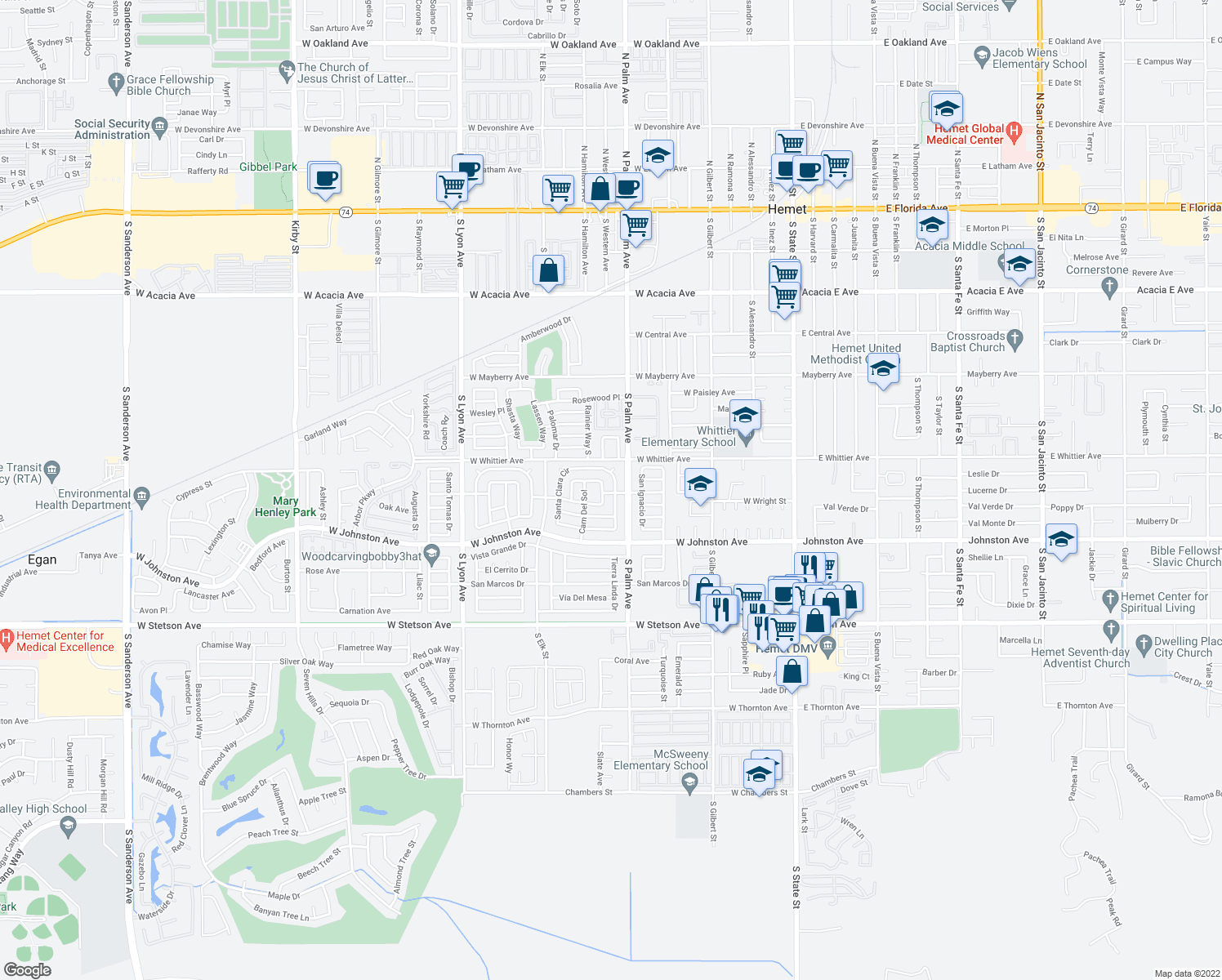 map of restaurants, bars, coffee shops, grocery stores, and more near 101 Santa Clara Circle in Hemet