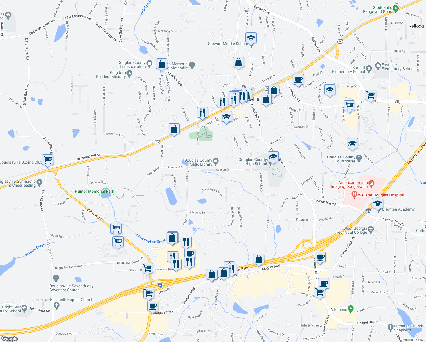 map of restaurants, bars, coffee shops, grocery stores, and more near 6845-6859 Selman Drive in Douglasville