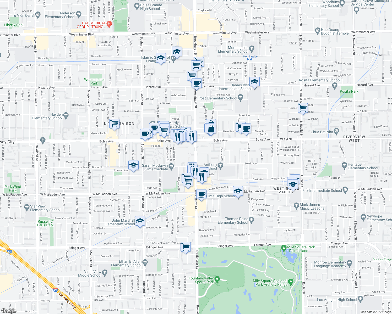 map of restaurants, bars, coffee shops, grocery stores, and more near 15130 Brookhurst St in Westminster