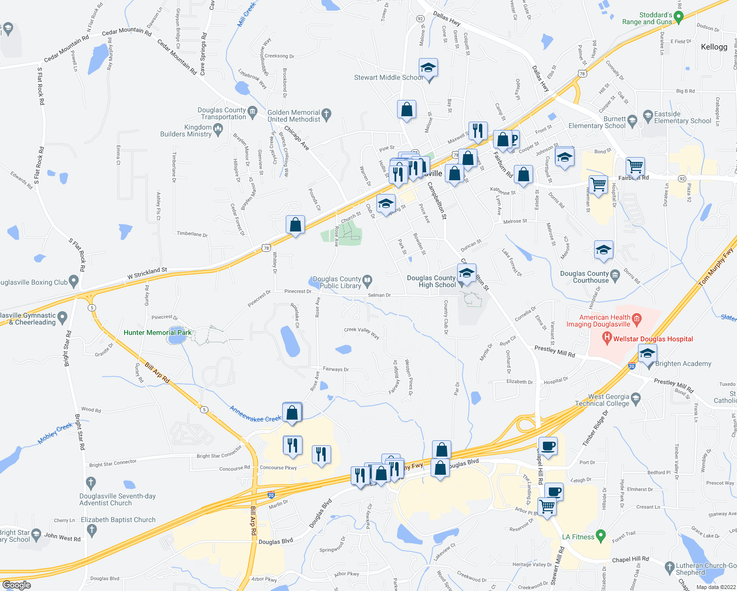 map of restaurants, bars, coffee shops, grocery stores, and more near 6839-6843 Selman Drive in Douglasville