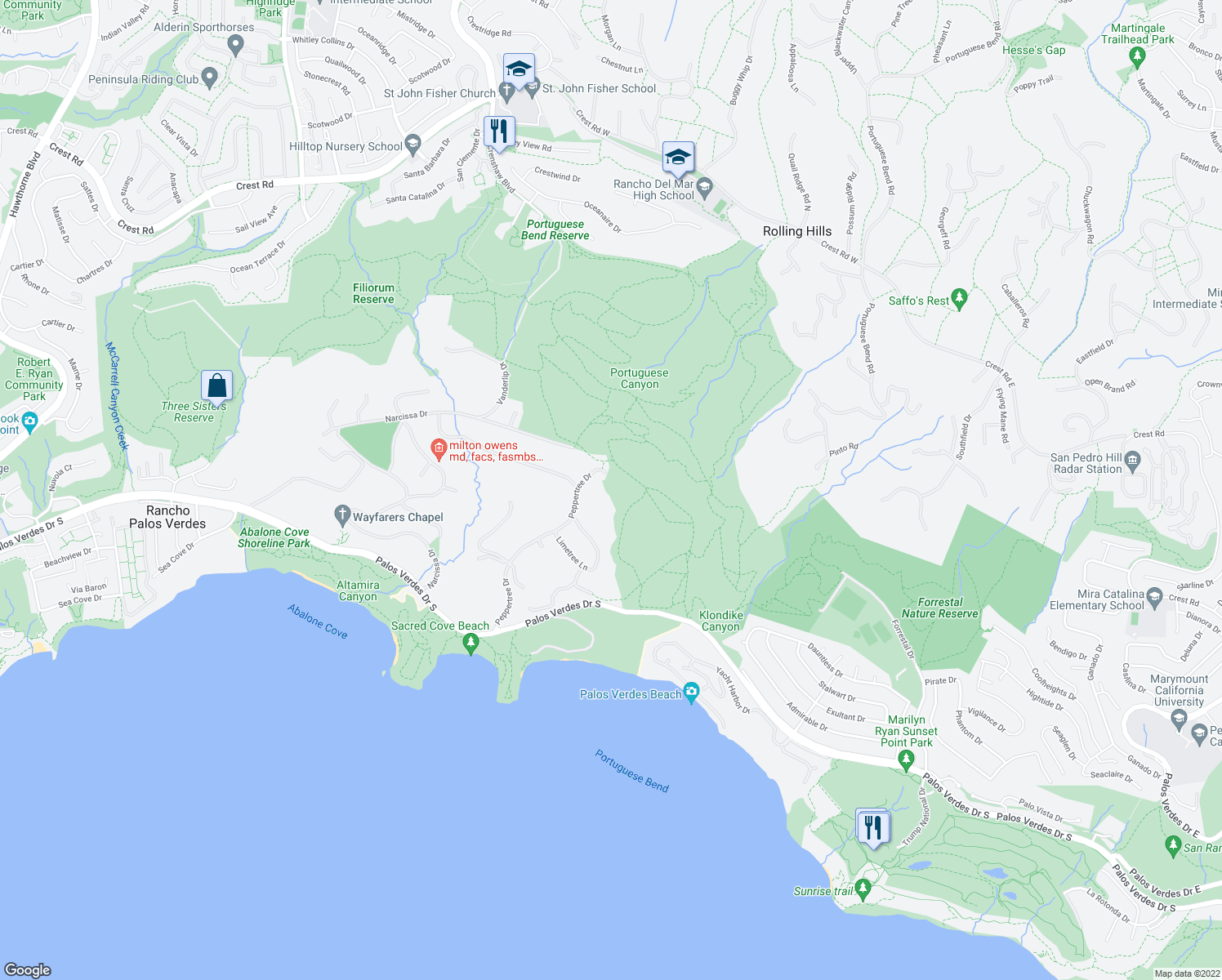 map of restaurants, bars, coffee shops, grocery stores, and more near in Rancho Palos Verdes