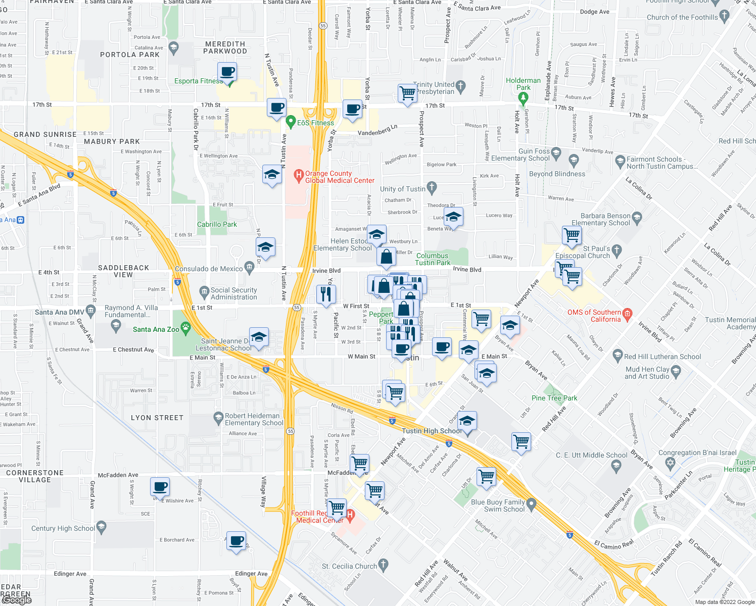 map of restaurants, bars, coffee shops, grocery stores, and more near in Tustin