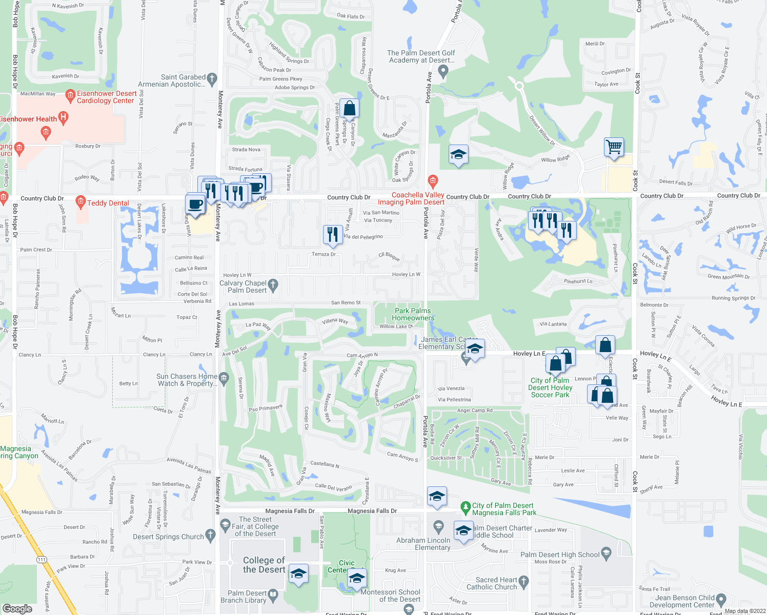 map of restaurants, bars, coffee shops, grocery stores, and more near 407 Pebble Creek Lane in Palm Desert