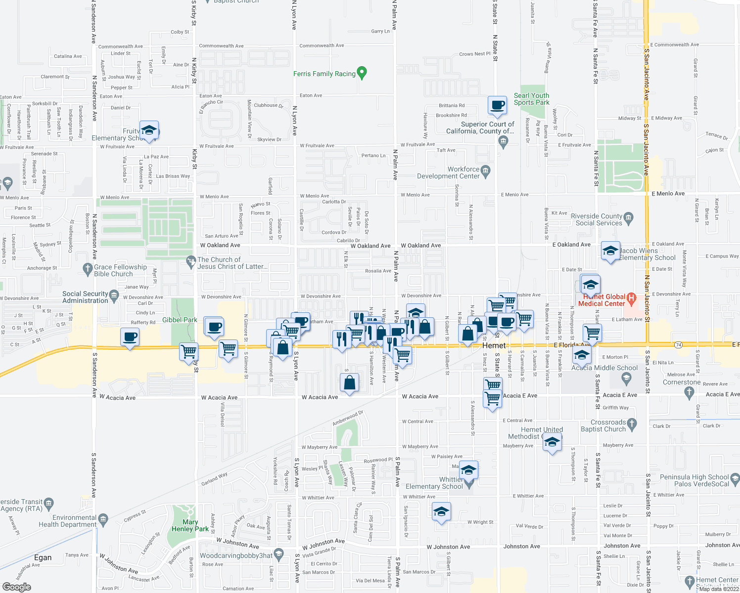 map of restaurants, bars, coffee shops, grocery stores, and more near 1000-1098 Devonshire Avenue in Hemet