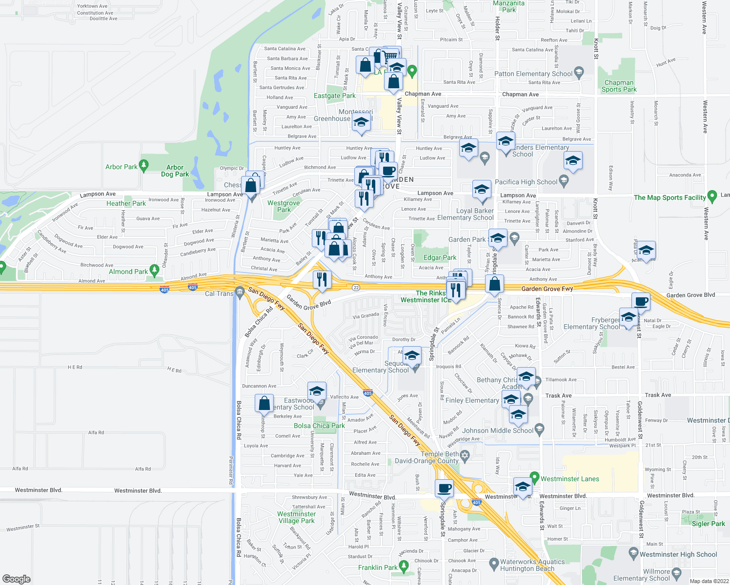 map of restaurants, bars, coffee shops, grocery stores, and more near 5575 W Garden Grove Blvd in Garden Grove