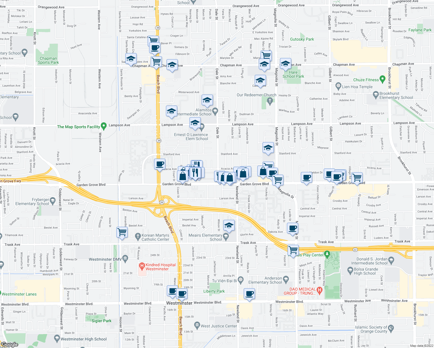 map of restaurants, bars, coffee shops, grocery stores, and more near 13001-13099 Dale St in Garden Grove