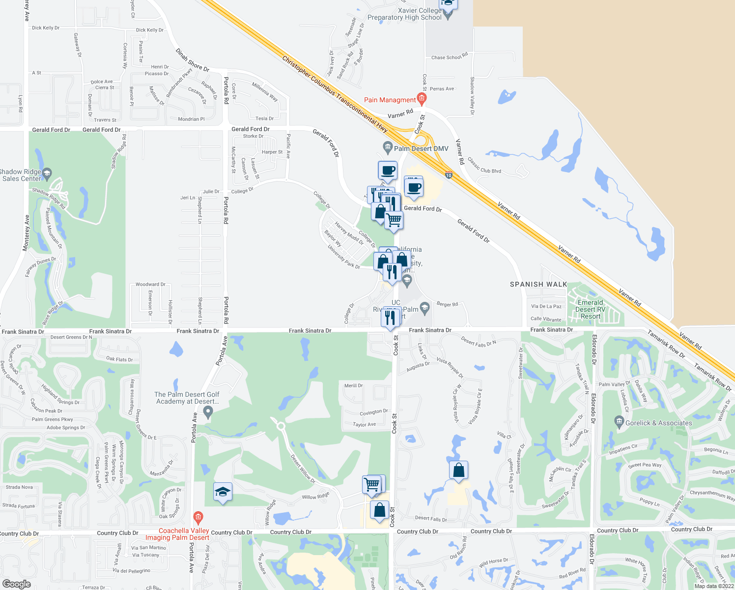 map of restaurants, bars, coffee shops, grocery stores, and more near 37600 College Drive in Palm Desert
