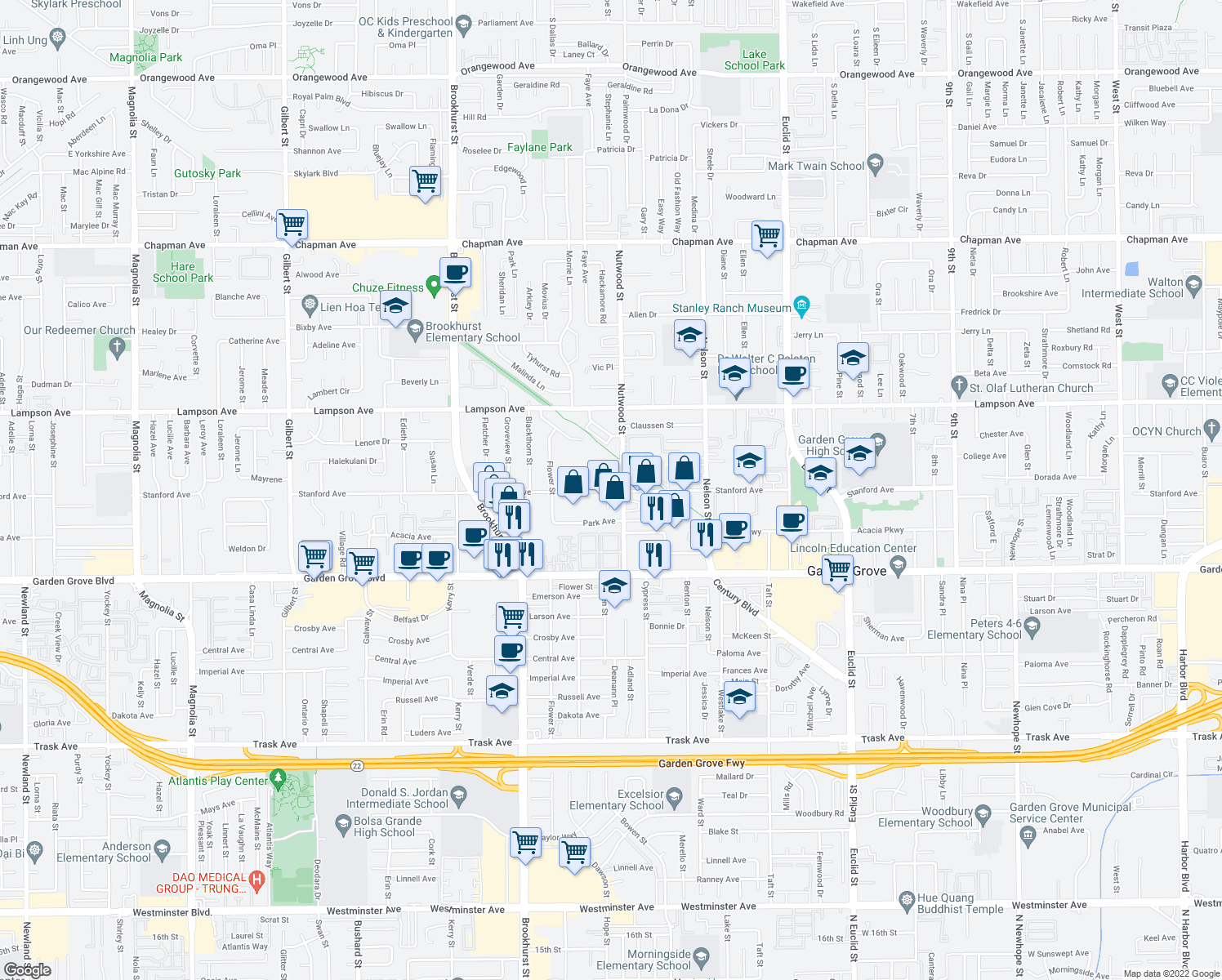 map of restaurants, bars, coffee shops, grocery stores, and more near 10441 Stanford Ave in Garden Grove