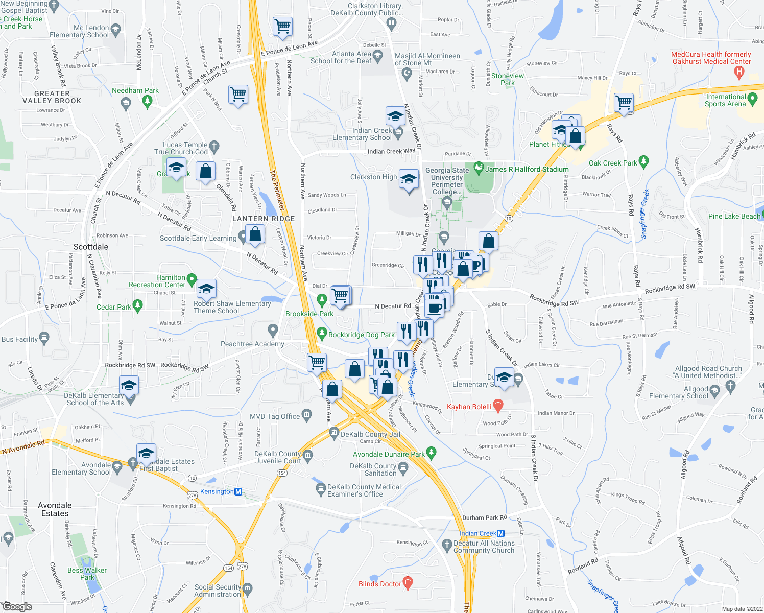 map of restaurants, bars, coffee shops, grocery stores, and more near 3770-3798 North Decatur Road in Decatur