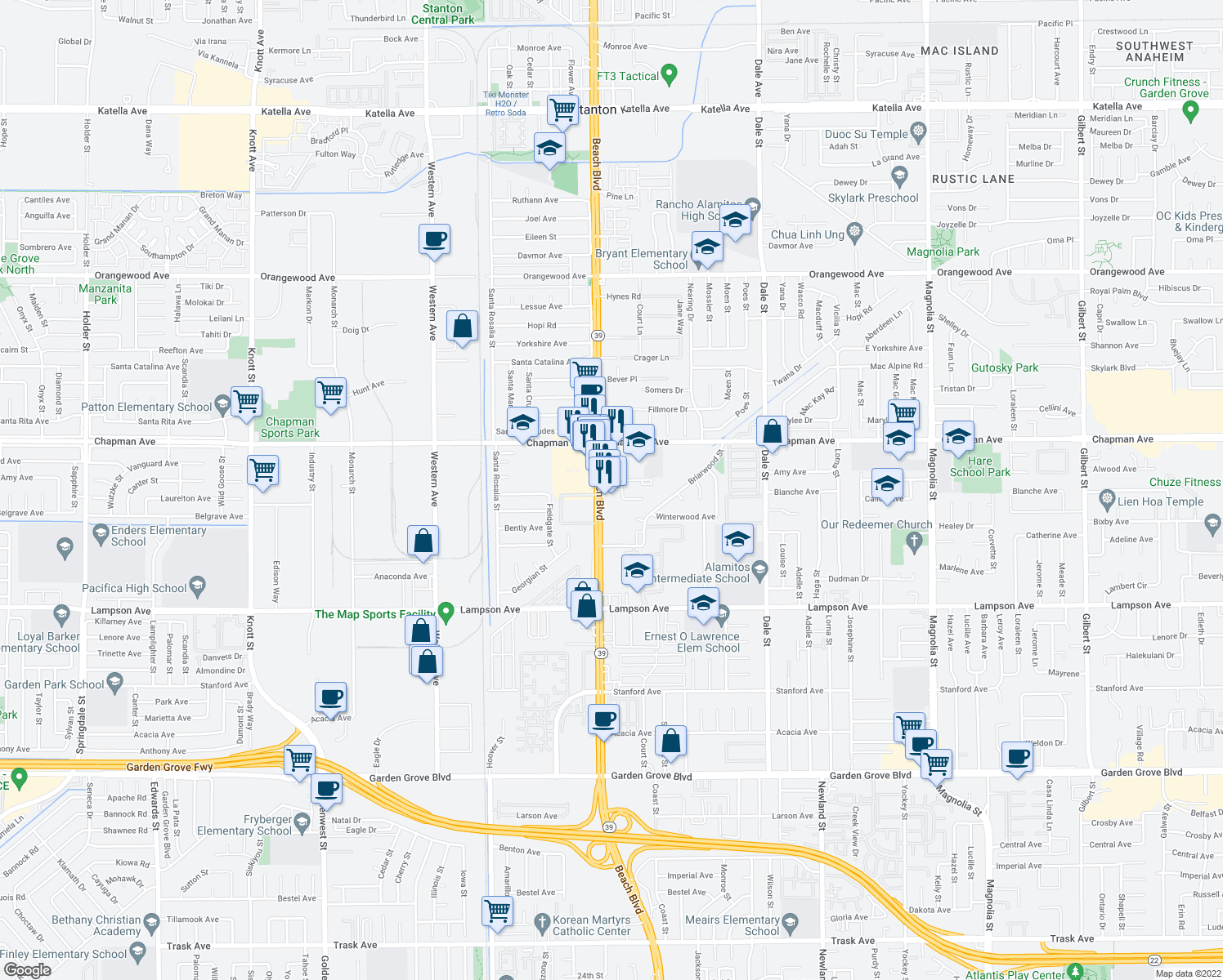 map of restaurants, bars, coffee shops, grocery stores, and more near 8100 Park Plaza in Garden Grove