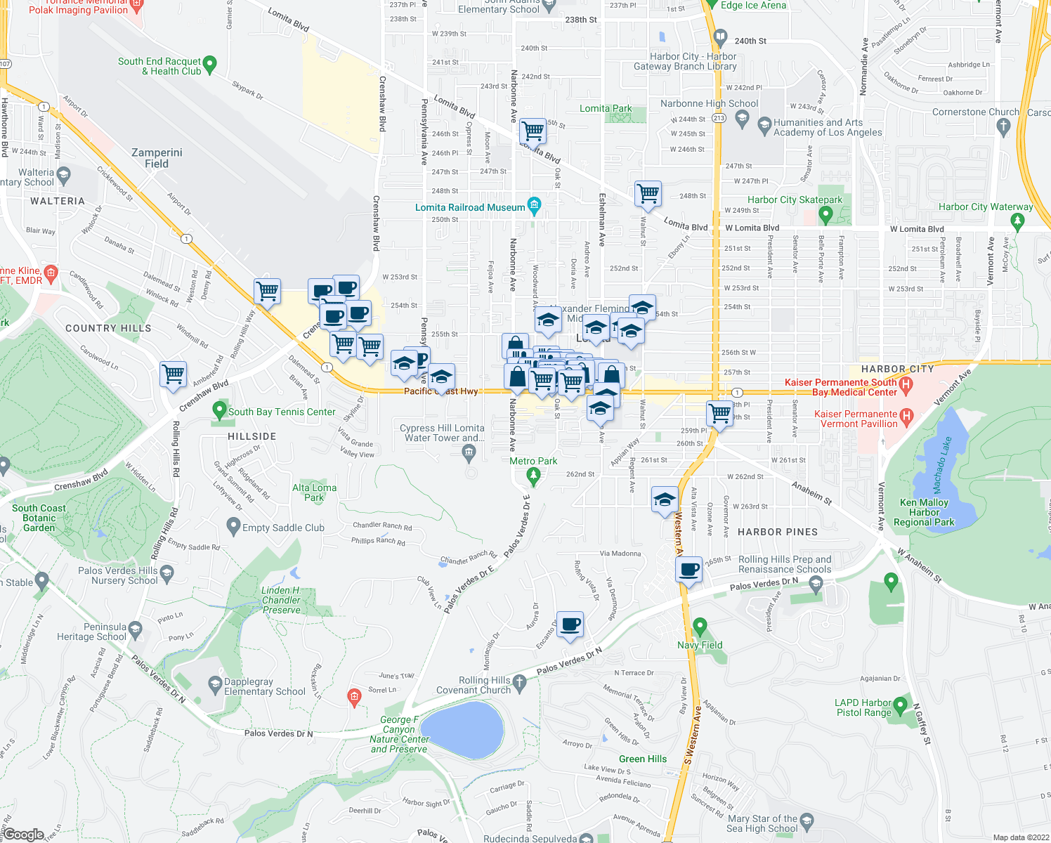 map of restaurants, bars, coffee shops, grocery stores, and more near 25921 Oak St in Lomita