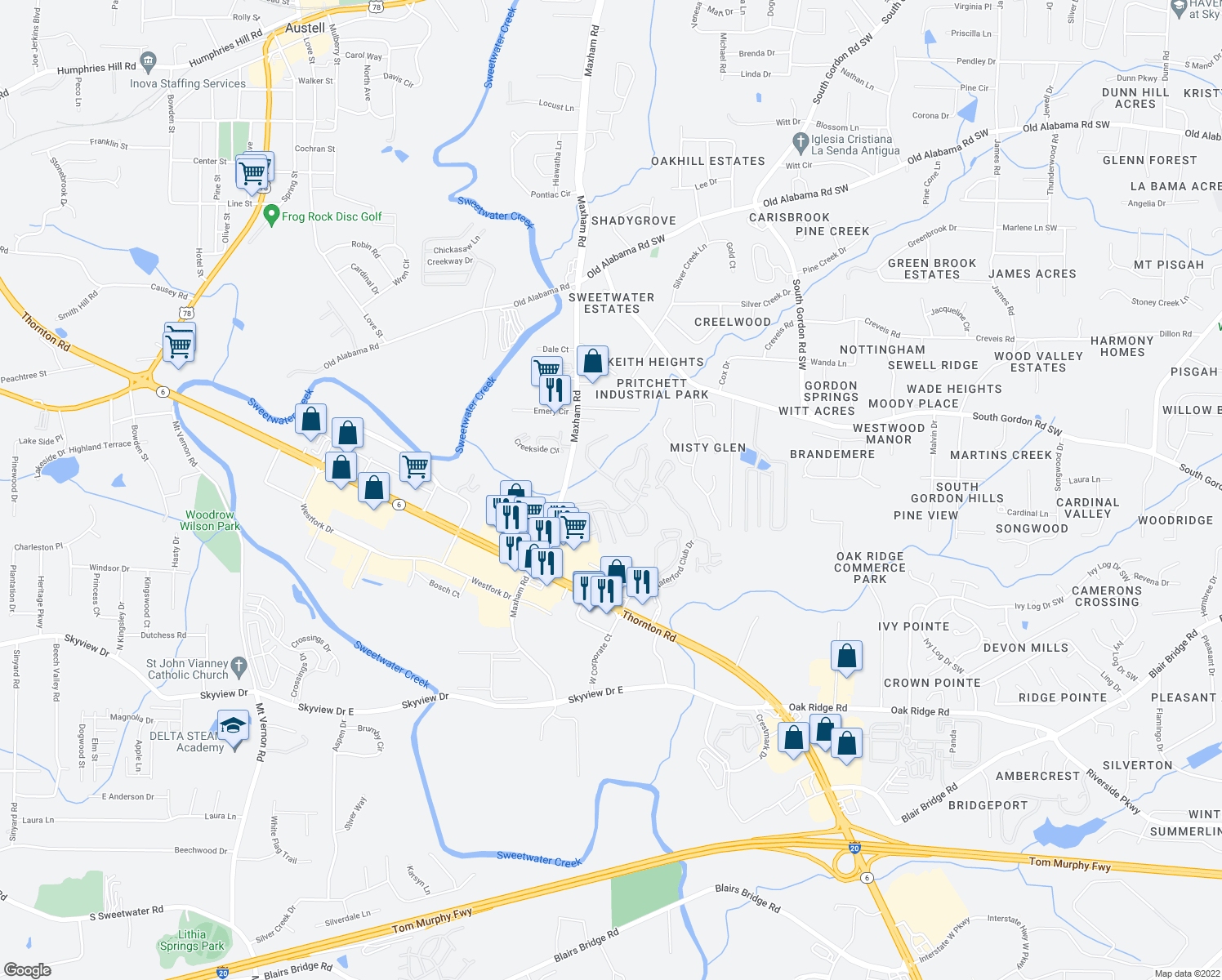 map of restaurants, bars, coffee shops, grocery stores, and more near 500 Maxham Rd in Austell