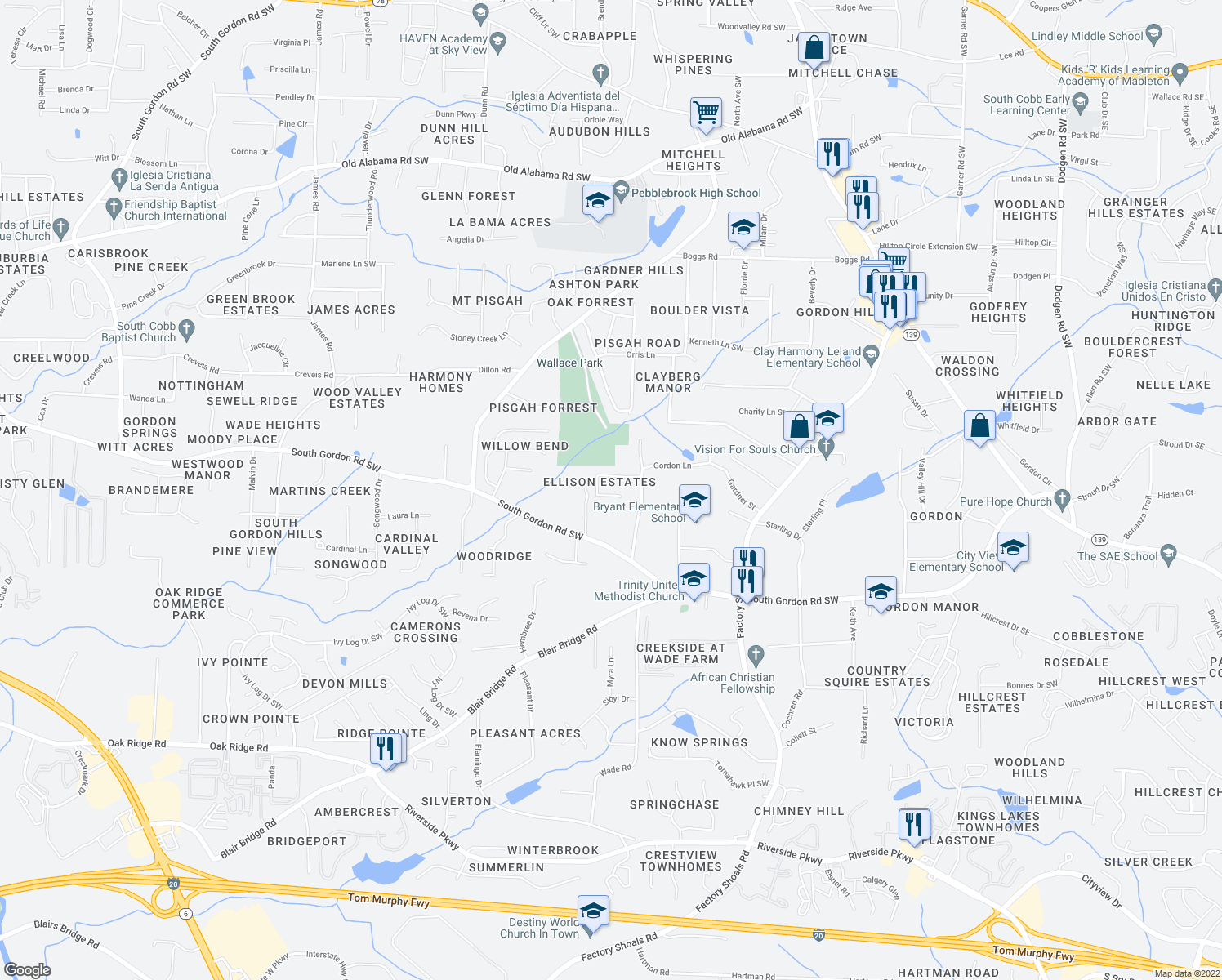 map of restaurants, bars, coffee shops, grocery stores, and more near 986 Ellison Court in Austell