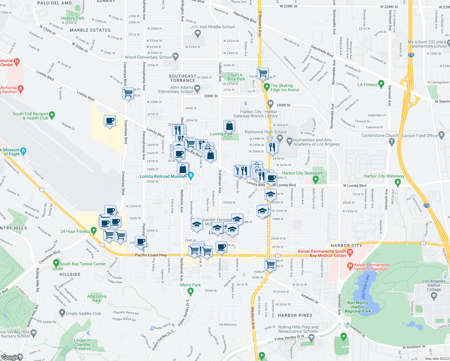 map of restaurants, bars, coffee shops, grocery stores, and more near 25004 Eshelman Ave in Lomita