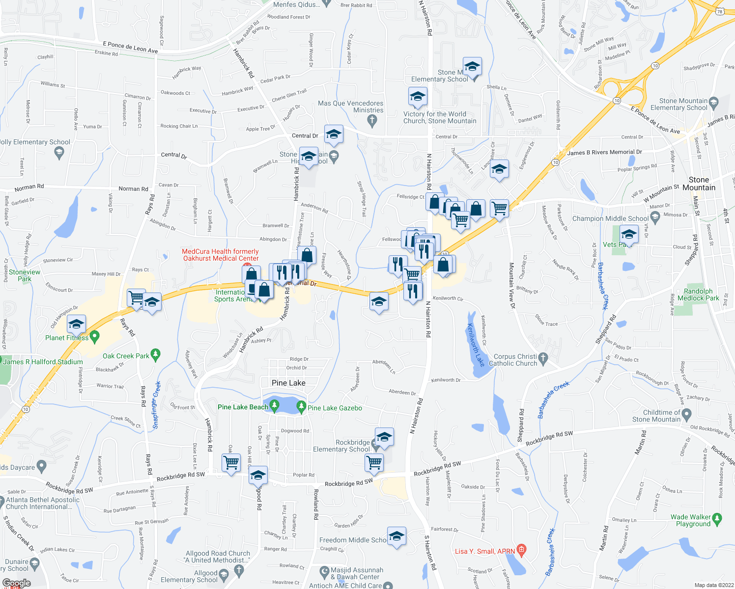 map of restaurants, bars, coffee shops, grocery stores, and more near 5823 Memorial Drive in Stone Mountain