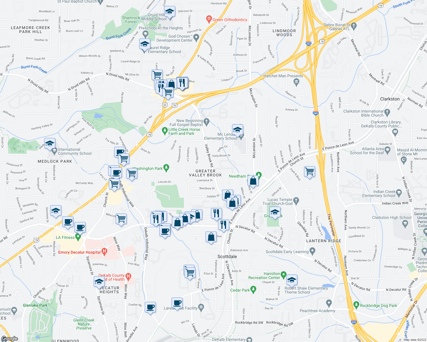 map of restaurants, bars, coffee shops, grocery stores, and more near 785 Valley Brook Road in Decatur