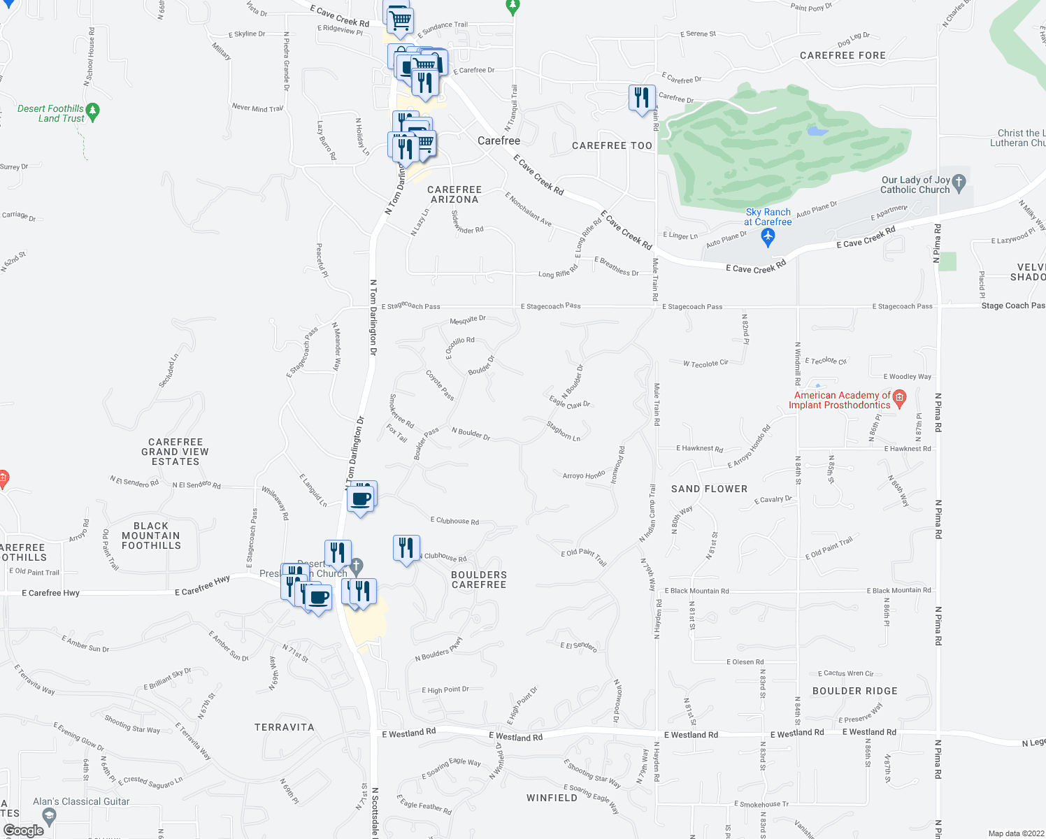 map of restaurants, bars, coffee shops, grocery stores, and more near 1700 Staghorn Lane in Scottsdale