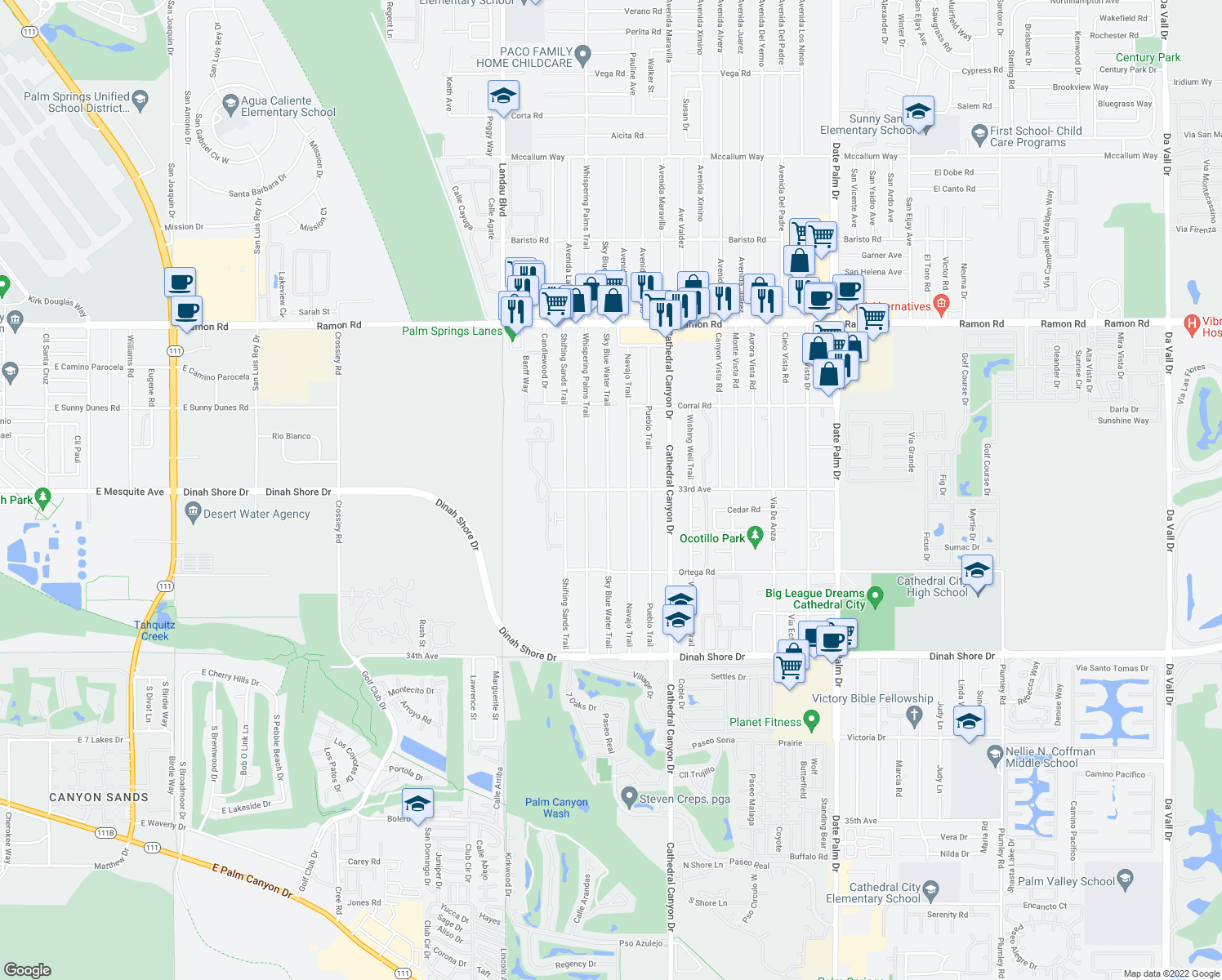 map of restaurants, bars, coffee shops, grocery stores, and more near 33033 Sky Blue Water Trail in Cathedral City