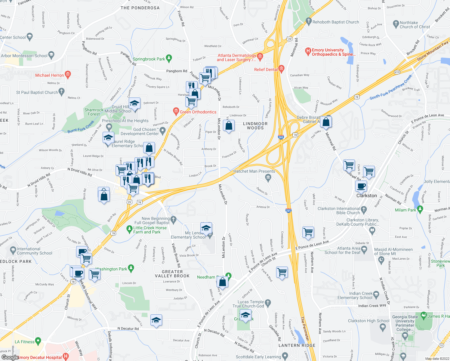 map of restaurants, bars, coffee shops, grocery stores, and more near Stone Mountain Highway in Decatur