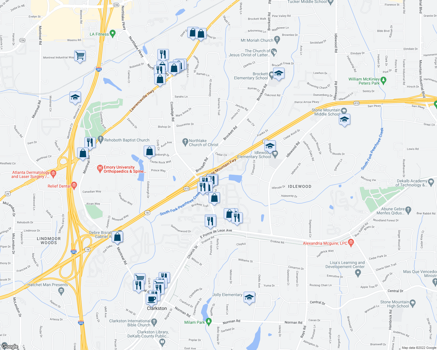 map of restaurants, bars, coffee shops, grocery stores, and more near Stone Mountain Hwy in Tucker