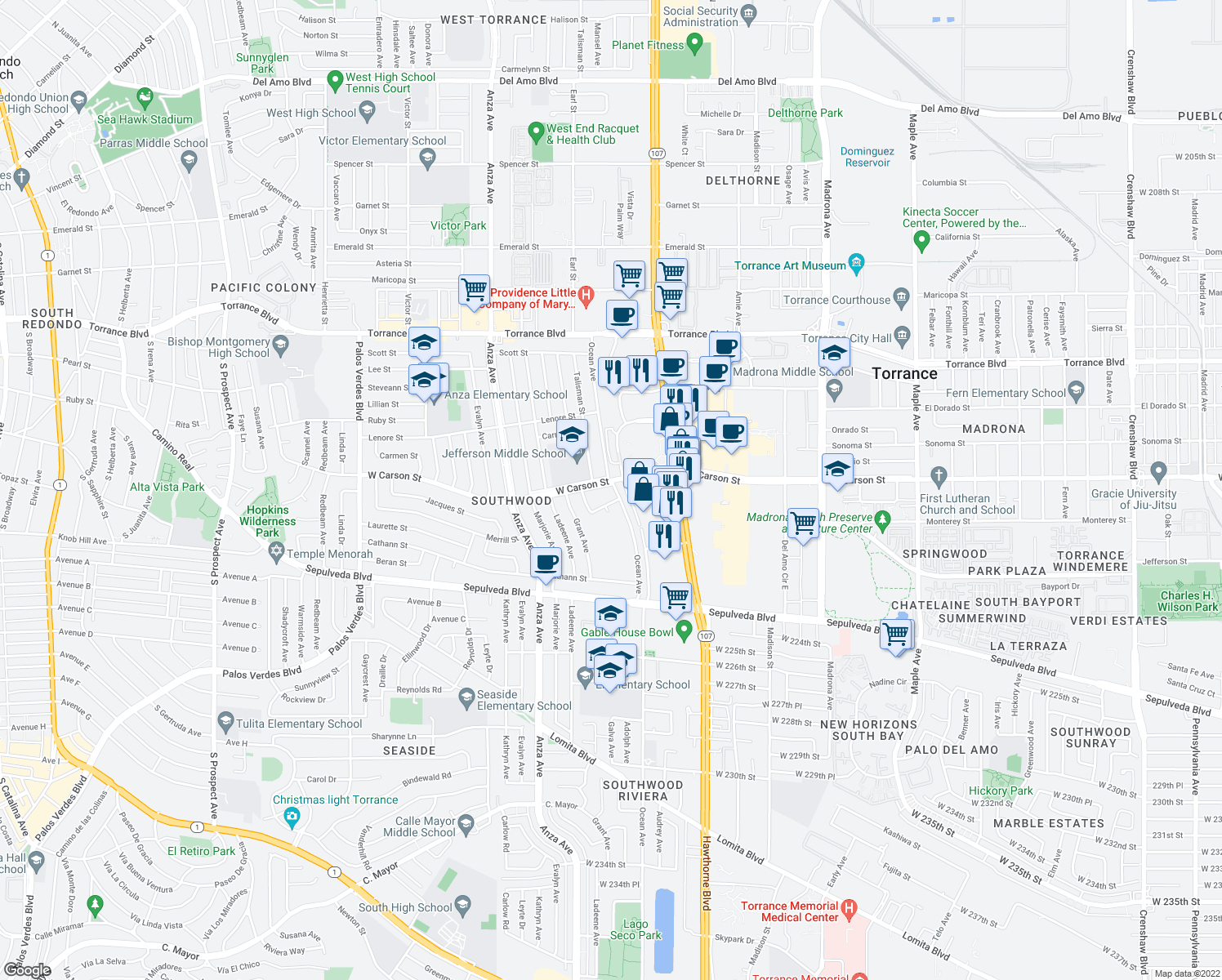 map of restaurants, bars, coffee shops, grocery stores, and more near 4002 West Carson Street in Torrance