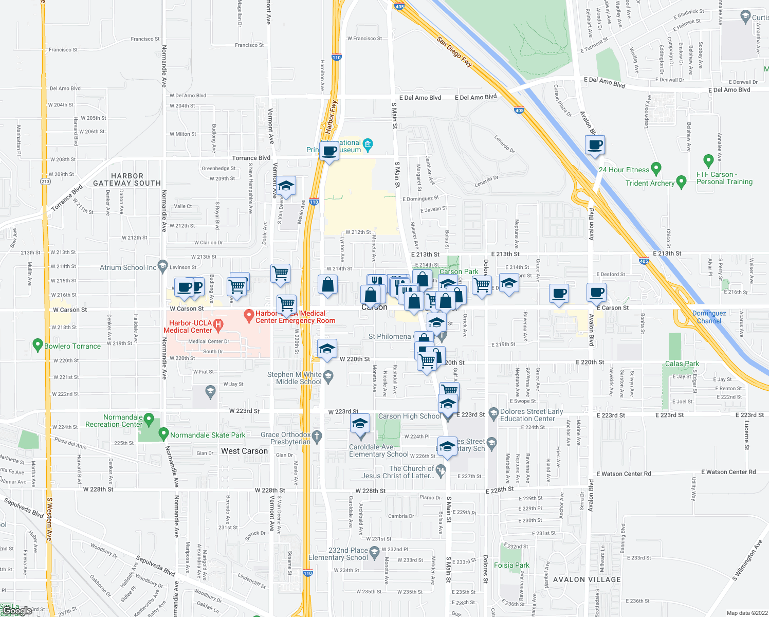 map of restaurants, bars, coffee shops, grocery stores, and more near 228 West Carson Street in Carson