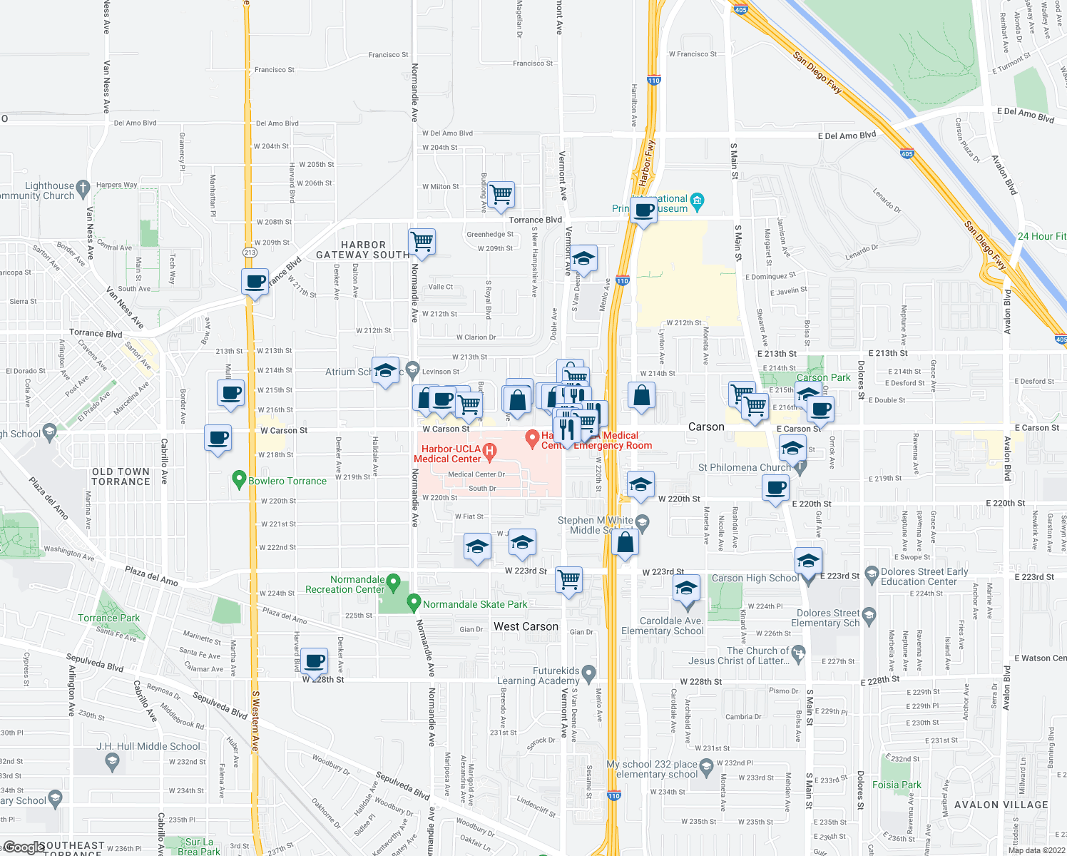map of restaurants, bars, coffee shops, grocery stores, and more near None in West Carson