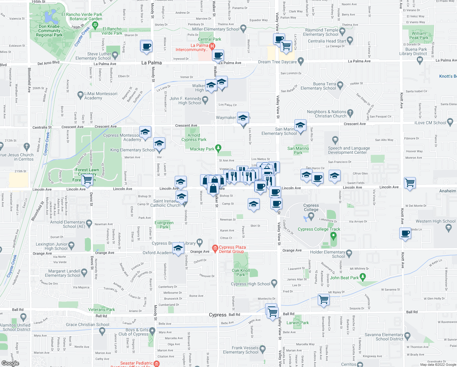 map of restaurants, bars, coffee shops, grocery stores, and more near 5601 Lincoln Avenue in Cypress