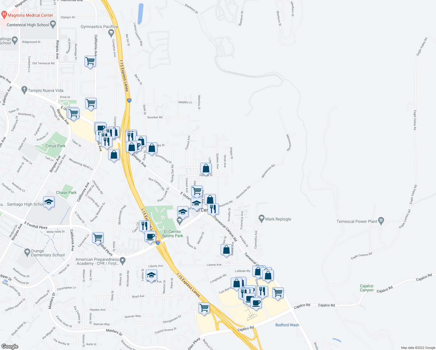 map of restaurants, bars, coffee shops, grocery stores, and more near Hillside St & Quebec Ave in El Cerrito