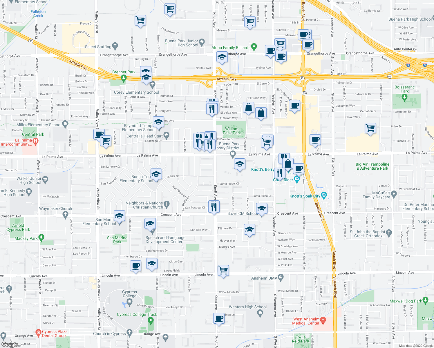 map of restaurants, bars, coffee shops, grocery stores, and more near 7035 Santa Irene Circle in Buena Park