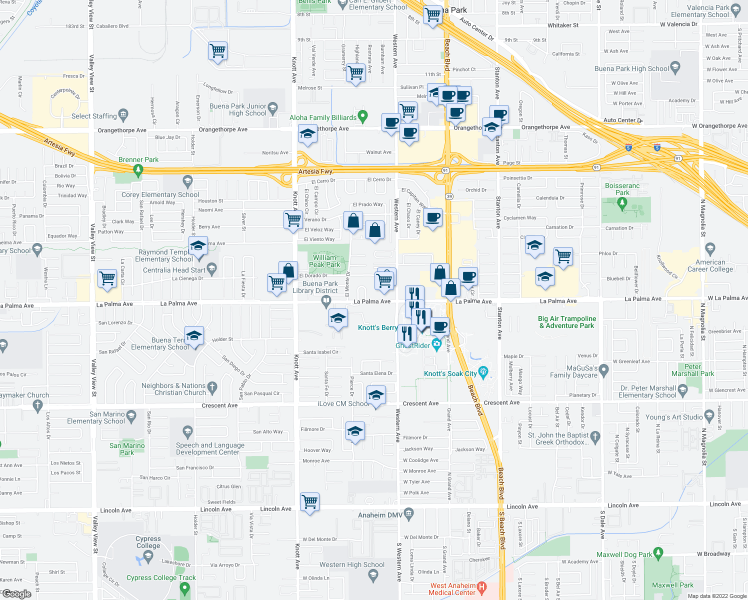 map of restaurants, bars, coffee shops, grocery stores, and more near 7377 La Palma Ave in Buena Park
