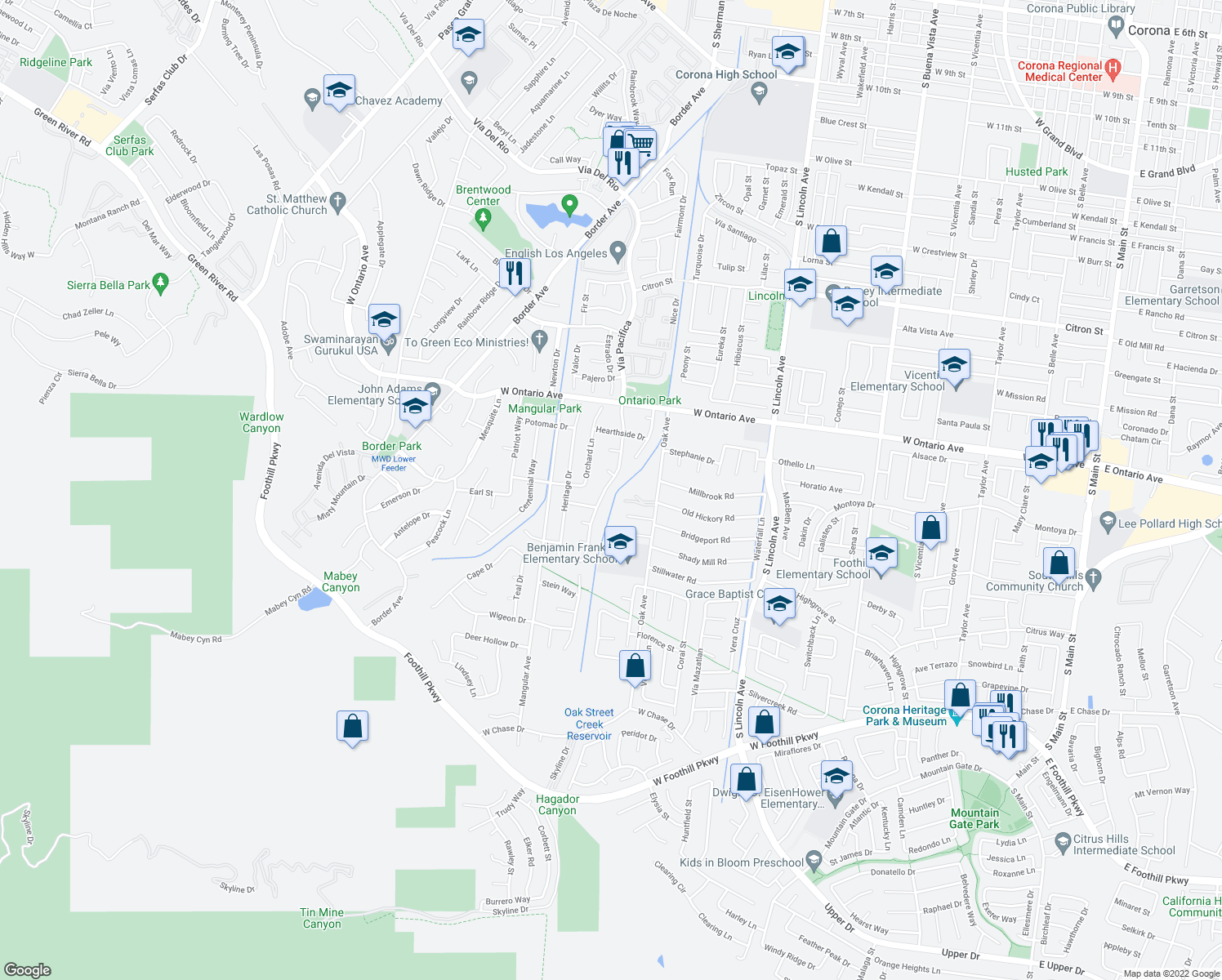 map of restaurants, bars, coffee shops, grocery stores, and more near 2431 Vía Pacifica in Corona