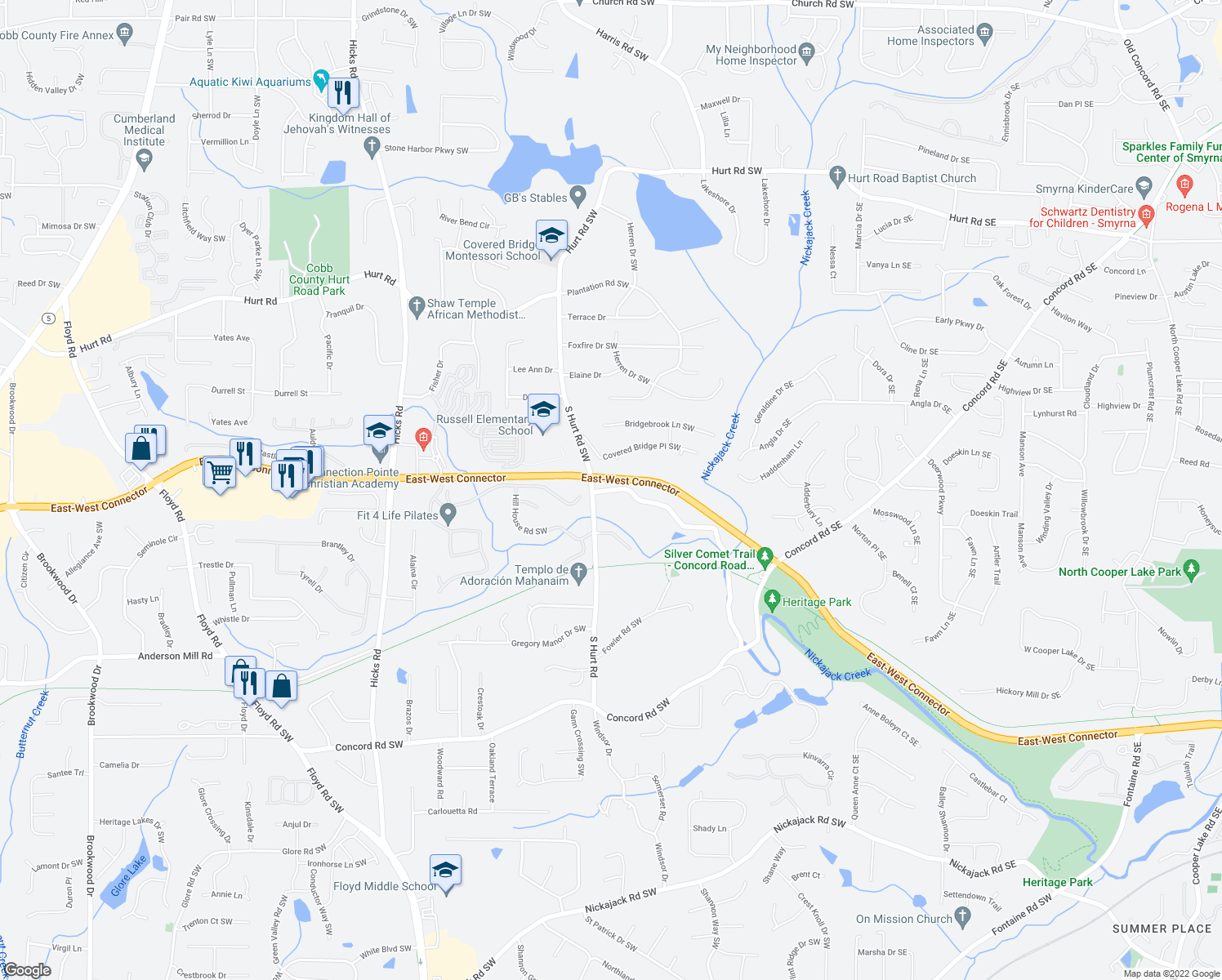 map of restaurants, bars, coffee shops, grocery stores, and more near East-West Connector in Smyrna