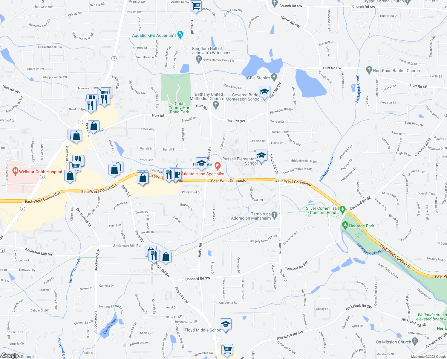 map of restaurants, bars, coffee shops, grocery stores, and more near East-West Connector in Austell