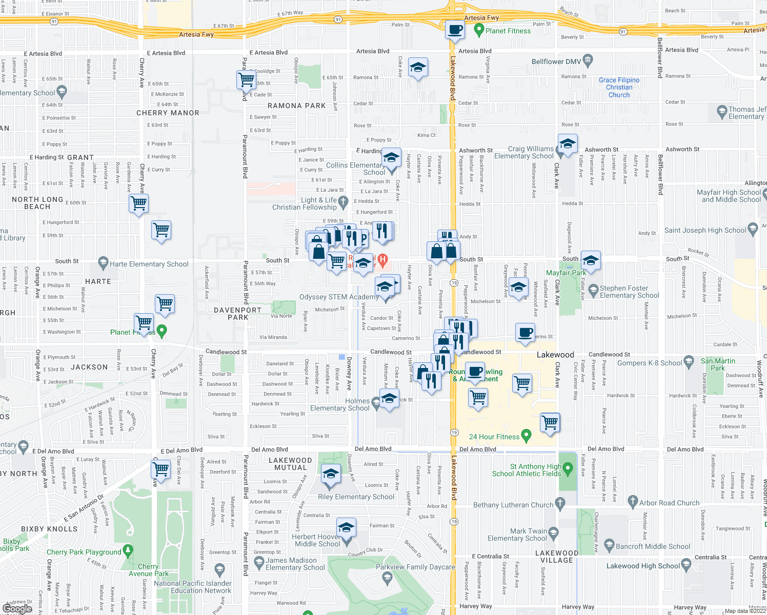 map of restaurants, bars, coffee shops, grocery stores, and more near 3629 Candor St in Lakewood